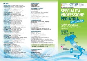 Forum Nazionale delle Scuole di Specializzazione in Pediatria Riccione 1-2-3 marzo 2018 13°edizione